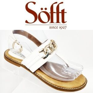 Eurosoft by Sofft Women's White Thong Sandals Gold